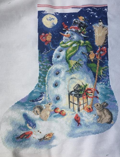 Snowman stocking wip 6-25-17