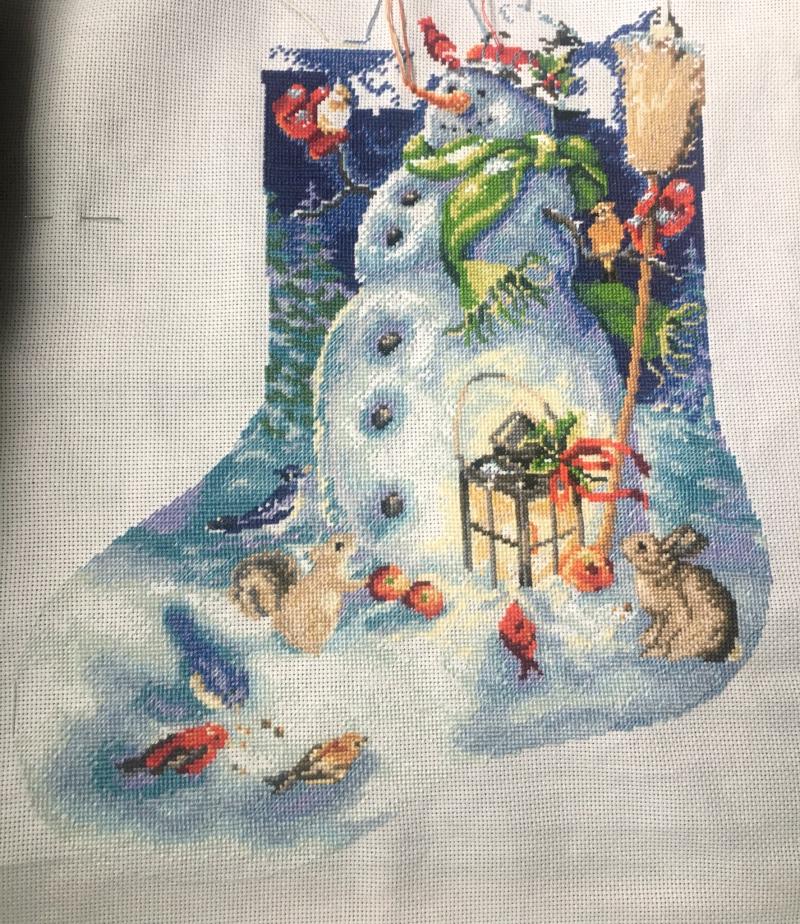 Snowman Stocking WIP 2-14-17